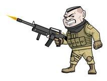 Cartoon soldier shooting his gun Stock Images