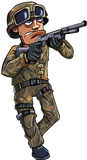 Cartoon soldier with a shotgun Royalty Free Stock Photography