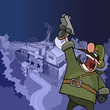 Cartoon soldier shouting aiming a pistol at the top Stock Photography