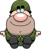 Cartoon Soldier Sitting Royalty Free Stock Images