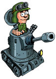 Cartoon soldier in a small tank Royalty Free Stock Photo