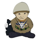 Cartoon soldier standing with gun. Royalty Free Stock Photography