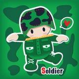 Cartoon soldier sticker. Style Stock Photos