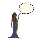 Cartoon sorceress  with thought bubble Royalty Free Stock Images