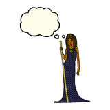 Cartoon sorceress  with thought bubble Royalty Free Stock Photo
