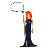 Cartoon sorceress  with thought bubble Royalty Free Stock Image