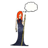 Cartoon sorceress  with thought bubble Royalty Free Stock Photography
