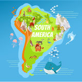 Cartoon South America continent geographic map. Cartoon map of South America with landscapes,mountains,rivers and cute cartoon animals. Vector illustration Royalty Free Stock Photography