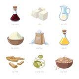 Cartoon soy food vector set Royalty Free Stock Image