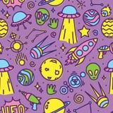 Cartoon space aliens seamless vector pattern. Cartoon space ufo aliens seamless vector pattern Stock Image
