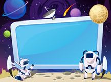 Cartoon space background with empty computer screen in the middle. Vector cosmic illustration for party, greeting card, invitation royalty free illustration
