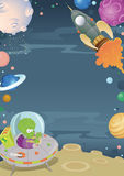 Cartoon Space Border. Illustration of a Cartoon Space themed border frame featuring Planets, Aliens and Spaceships Royalty Free Stock Image