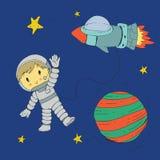 Cartoon space for children. Moon, stars, planet, asteroid, astrounaut, rocket, spaceship, alien, ufo. Adventure, travel. Cartoon space for children. Moon, stars royalty free illustration