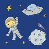 Cartoon space for children. Moon, stars, planet, asteroid, astrounaut, rocket, spaceship, alien, ufo. Adventure, travel. Cartoon space for children. Moon, stars stock illustration