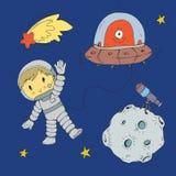 Cartoon space for children. Moon, stars, planet, asteroid, astrounaut, rocket, spaceship, alien, ufo. Adventure, travel. Cartoon space for children. Moon, stars vector illustration