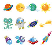 Cartoon space element icons set Stock Photography