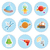 Cartoon space element icons set Royalty Free Stock Image