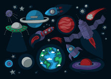 Cartoon space elements Royalty Free Stock Photo