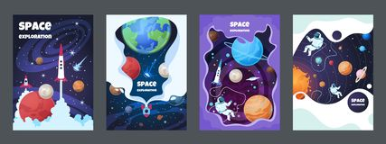 Cartoon space flyer. Universe galaxy banner planet science poster astronaut poster frame brochure cover design. Vector