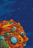 Cartoon space - foreign civilization - astronomy for kids Stock Image