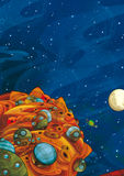 Cartoon space - foreign civilization - astronomy for kids Stock Photo