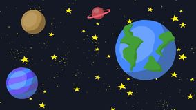 Cartoon space galaxy with stars and planet looped animation