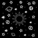 Cartoon space icons. Kid's elements for scrap-booking Stock Image