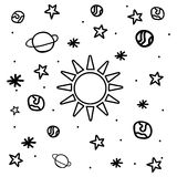 Cartoon space icons. Kid's elements for scrap-booking. Childish background, vector illustration Stock Images