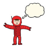 Cartoon space man with thought bubble Royalty Free Stock Images