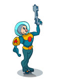 Cartoon Space Marine in a Suit. Stock Photos