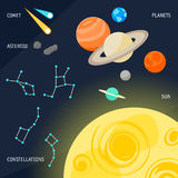Cartoon space objects for design  card, banner, placard Stock Photo