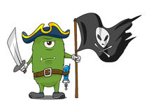 Cartoon space pirate monster vector illustration Stock Image