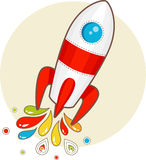 Cartoon space rocket. With patterns vector illustration