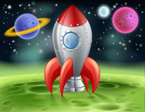 Cartoon Space Rocket on Alien Planet Stock Photos