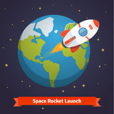 Cartoon space rocket leaving earth orbit Royalty Free Stock Photo