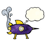 cartoon space rocket with thought bubble Royalty Free Stock Photo