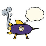Cartoon space rocket with thought bubble Royalty Free Stock Photos