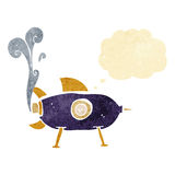 Cartoon space rocket with thought bubble Stock Images
