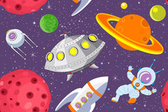Cartoon space seamless background Royalty Free Stock Image