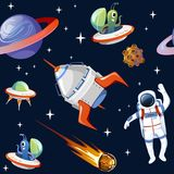Cartoon space seampless pattern. Planets, asteroids, astronauts, ufo, spaceships and stars isolated on blue background. royalty free illustration