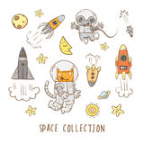 Cartoon space set. Space set. Cartoon cat  astronaut and  mouse  astronaut fly in space. Vector doodle image Stock Photography