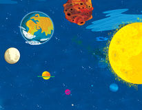 Cartoon space - surface of some asteroid - astronomy for kids Stock Images