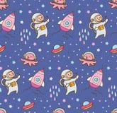 Cartoon space theme seamless background royalty free illustration