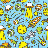 Cartoon space ufo aliens seamless  pattern blue. Cartoon space ufo aliens seamless  pattern Stock Image