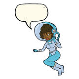Cartoon space woman with speech bubble Royalty Free Stock Photos