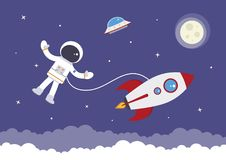 Cartoon Vector Spaceman attached to a Rocket. A cartoon spaceman attached to a space rocket stock illustration