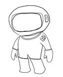 Cartoon Spaceman looks a  line art Stock Photography