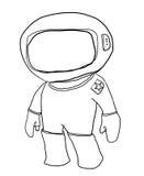 Cartoon Spaceman looks a  line art Stock Photography