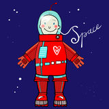Cartoon spaceman in outer space royalty free stock images