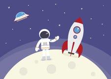 Cartoon Vector Spaceman and Rocket on Moon. A cartoon spaceman and rocket on the moon stock illustration